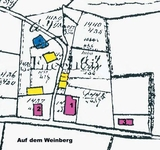 Urflurkarte von Eichen von 1824 (rot = Hauptgebäude, Nr. 3 Vikarie, blau = Weiher, gelb = Nebengebäude)