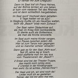 Maria Heines, geb. Schmitz. Ehemann Franz Heines war langjähriger Vorsitzender und verstarb am 3. Juli 1964