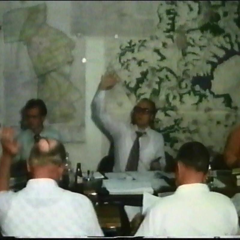 Ratssitzung 1976 mit Bürgermeister Hans Günther van Allen und Gemeindedirektor Albrecht Weinrich