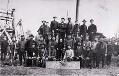 """Bergmänner im Jahre 1914 auf der Grube """"Anacker""""."""