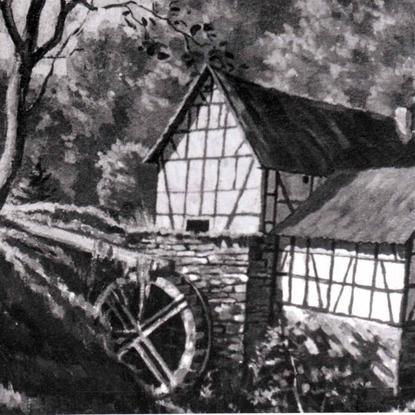 Gemaltes Bild von der Jexmühle.