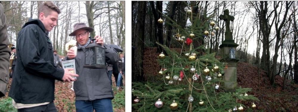 Pfadfinder bringen das Licht zu Bethlehem aus dem Altenberger Dom zum Kreuz Kalvarienberg