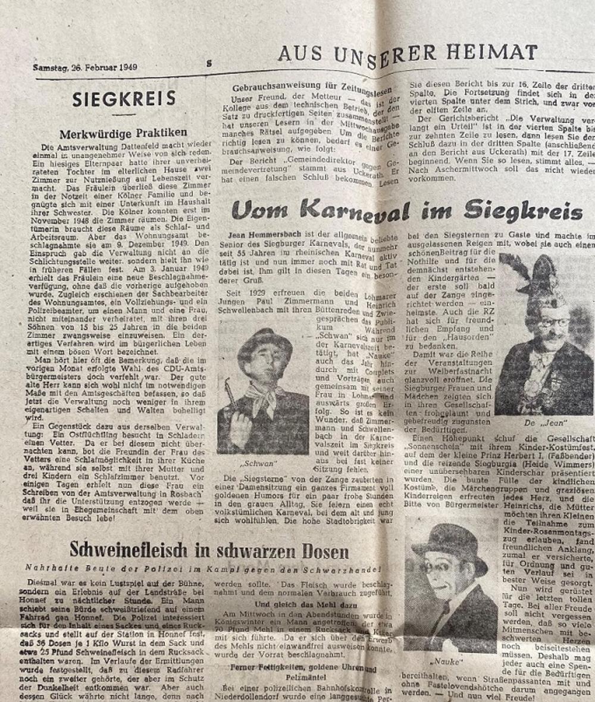 Bericht Rheinische Zeitung 26. Februar 1949 über die Karnevalisten Paul Zimmermann (Schwan) und Heinrich Schwellenbach (Nauke)