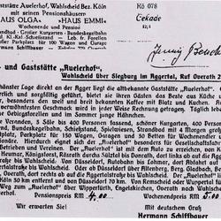 Rückseite einer Ansichtskarte mit Werbung 1930er Jahre