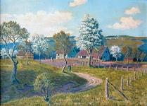 Kuttenkaule bis etwa 1950 (Ansicht von Weegen kommend) nach einem Gemälde von unserem Heimatmaler Wilfriedo Becker aus Donrath (links Scheune Limbach, dann Wohnhaus Limbach und gegenüber Wohnhaus Burger und Jackes, rechts Scheune und im Hintergrund der Heppenberg).