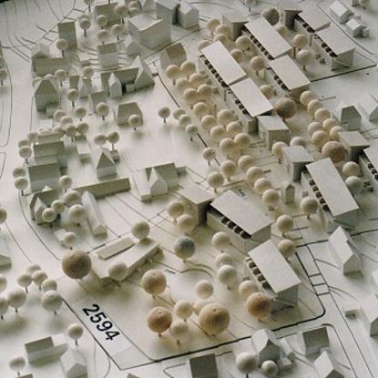 Modell Architekturbüro Böttger Im unteren Bildteil: Ecke Bachstr./Grüner Weg Foto Morich