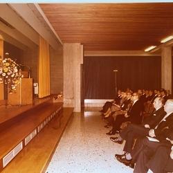 Feier am 5. Nov. 1977 Aula Hauptschule 1.Reihe vrnl: Landtagesabgeordneter Heinz-Josef Nüchel, Landtagsabegeordneter Karlheinz Bräuer, Oberkreisdirektor Paul Kieras, Landrat Dr. Franz Möller