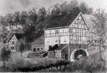 Ein gemaltes Bild von der Dorpmühle im Jahre 1935