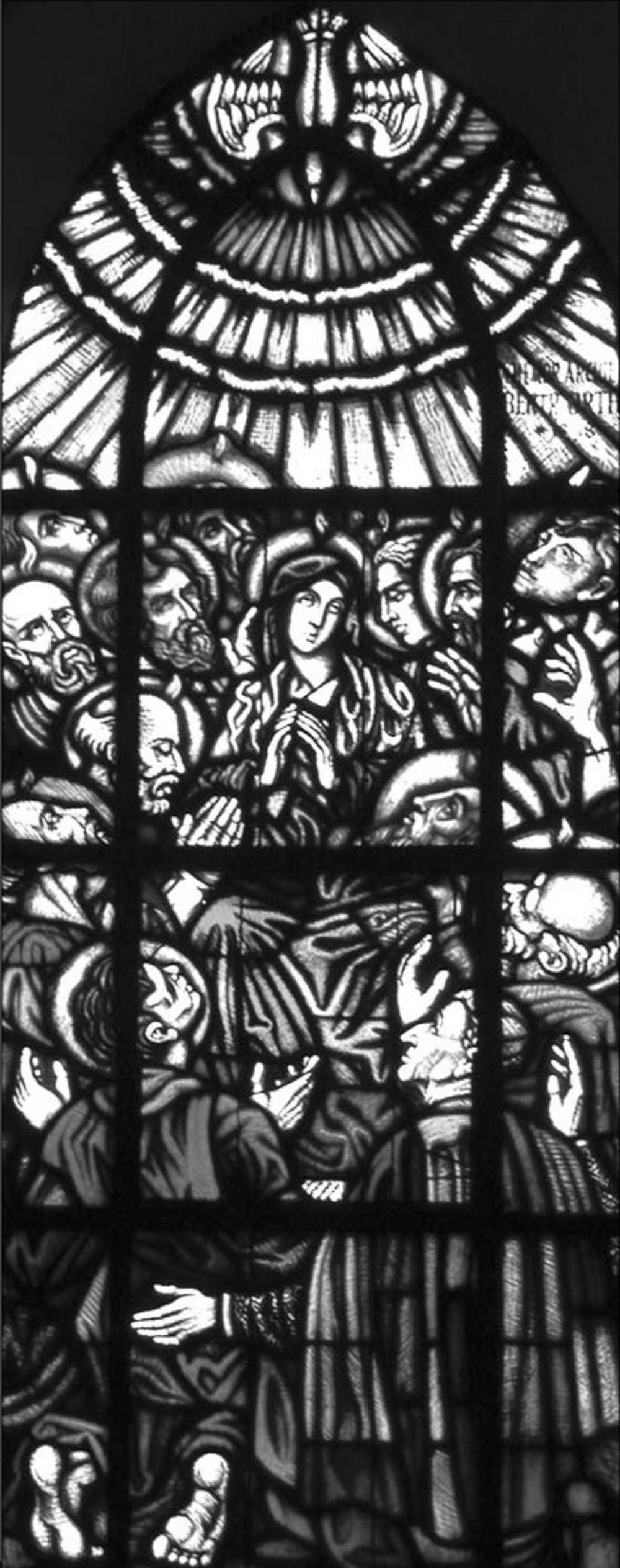 Das erste Fenster im südlichen Seitenschiff der Birker Pfarrkirche zeigt die Glasmalerei von der Herabkunft des Heiligen Geistes auf die Gottesmutter Maria und die Apostel am Pfingsttage. Unten rechts kniet Erzbischof Bertram Orth. Aus der mit Schwarzlot eingebrannten Inschrift ist zu lesen: »... ARCHIEP(ISCOPUS) BERTR. ORTH geb. 1848.«