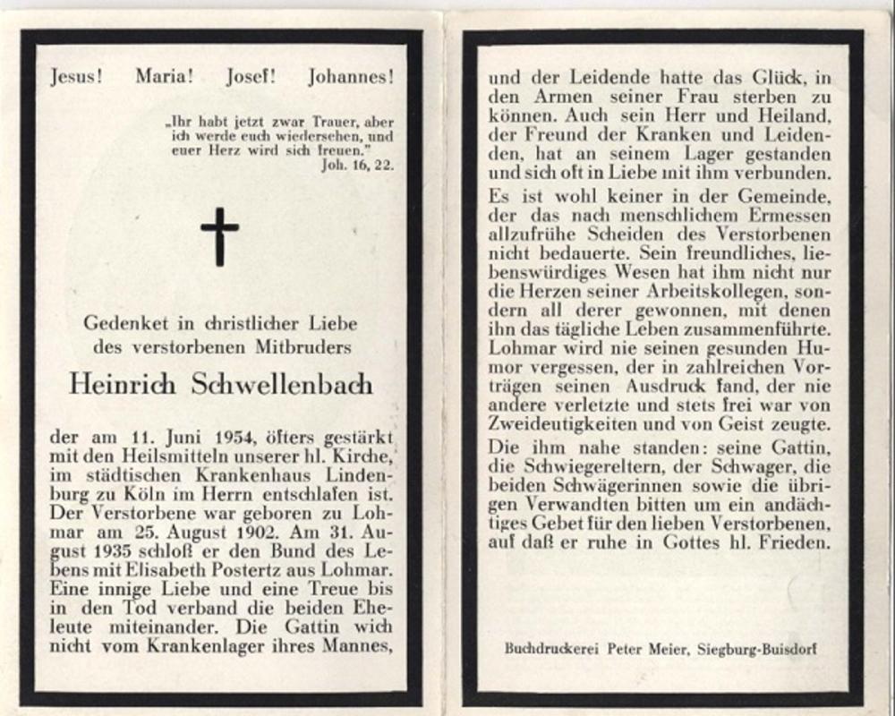 Heinrich Schwellenbach in Memoriam