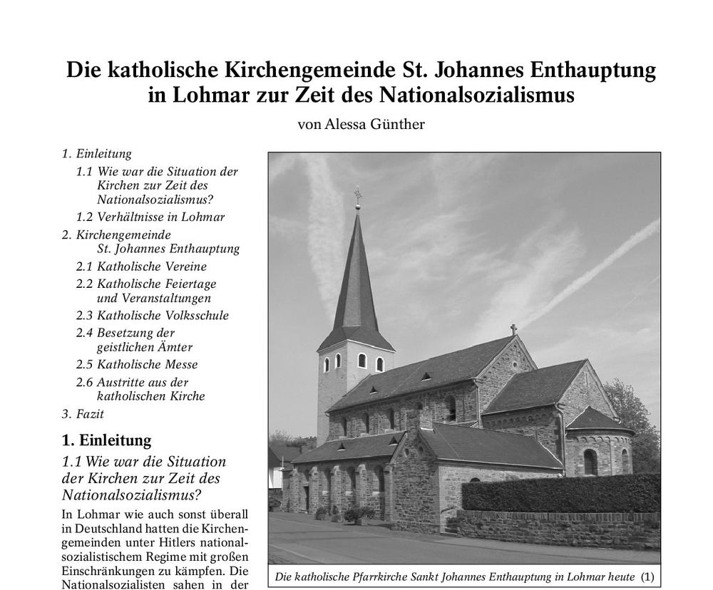 Facharbeit (Jahrgangsstufe 12) Gymnasium Lohmar