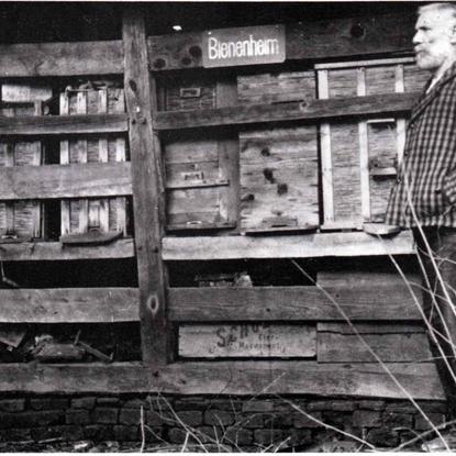 """August Piel (geb. 1863 – gest. 1936), der sehr """"ondounich"""" (nichtsnutzig) war. Er steht vor seinem """"Bienenheim"""" in Birken – vor dem 1. Weltkrieg."""