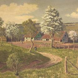 Ölgemälde zeigt Weegen, im Hintergrund Heppenberg
