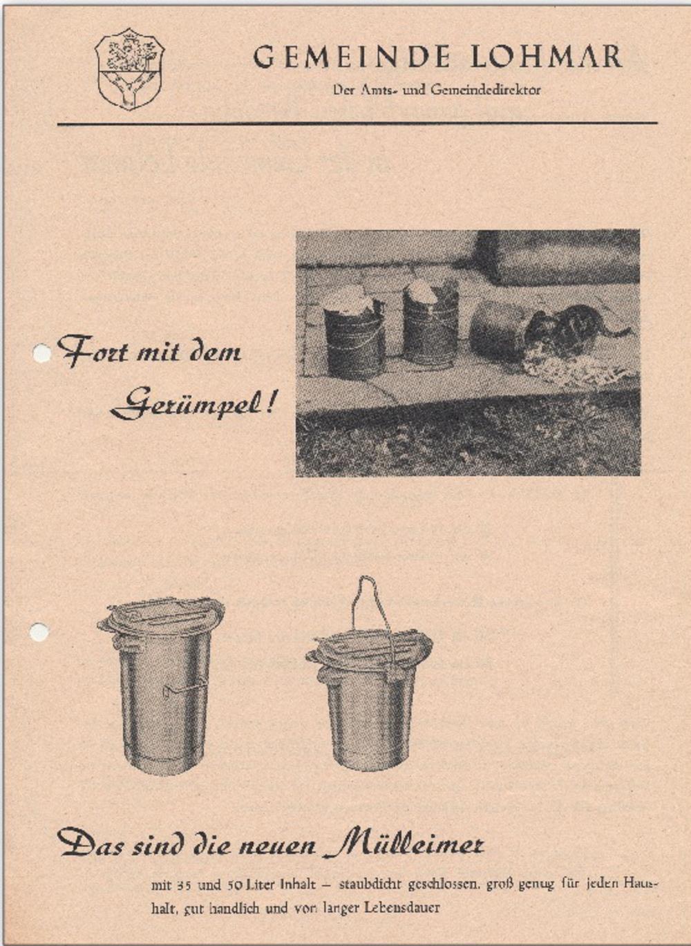 Werbung für neuen Mülleimer der Gemeinde Lohmar, unterzeichnet von Gemeindedirektor Priel